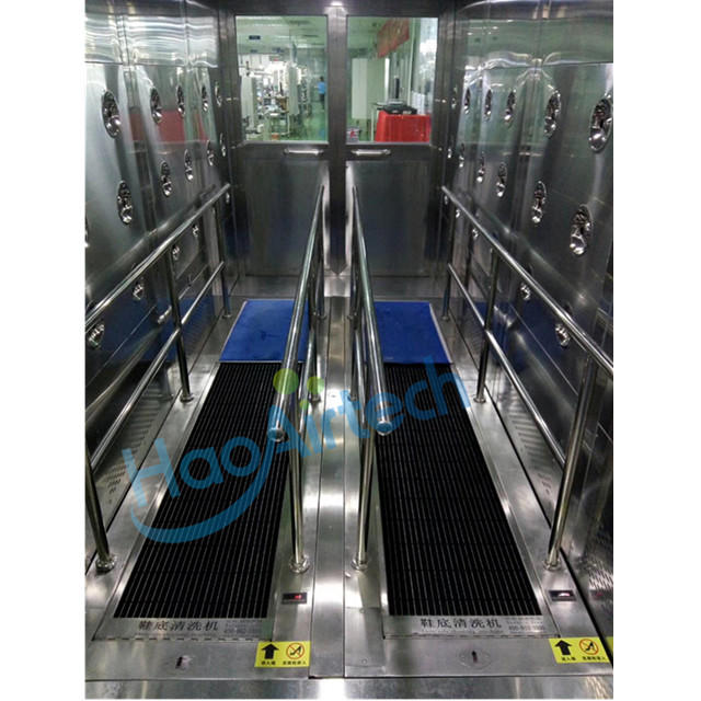 Air shower tunnel with shoes sole clean machine